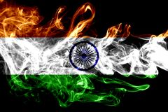 National flag of India made from colored smoke isolated on black background. Abstract silky wave background. National flag of India made from colored smoke vector illustration