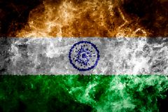 National flag of India. From thick colored smoke on a black isolated background Royalty Free Stock Photography