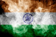 National flag of India. From thick colored smoke on a black isolated background Royalty Free Stock Photo
