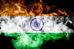 National flag of India. From thick colored smoke on a black isolated background Royalty Free Stock Image