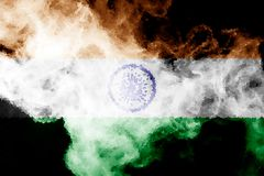 National flag of India. From thick colored smoke on a black isolated background Stock Photography