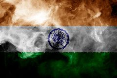 National flag of India. From thick colored smoke on a black isolated background Royalty Free Stock Photos