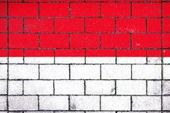 National flag of Indonesia. Against a background of a stone background covered with moss royalty free stock photography