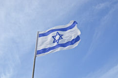 National flag of Israel outdoors Royalty Free Stock Photos