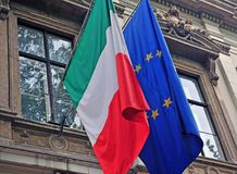 National flag of Italy and EU. Ropean Union Royalty Free Stock Photos
