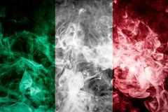 National flag of Italy. From thick colored smoke on a black isolated background Royalty Free Stock Photos