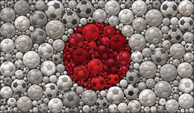 National Flag of Japan Soccer Balls Mosaic Illustration Design Concept Royalty Free Stock Images