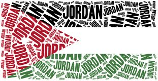 National flag of Jordan. Word cloud illustration. Royalty Free Stock Images