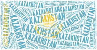 National flag of Kazakhstan. Word cloud illustration. Stock Photography