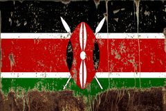National flag of Kenya on metal texture. National flag of Kenya on rusty metal texture royalty free stock image