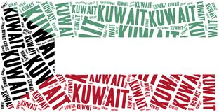 National flag of Kuwait. Word cloud illustration. Stock Image