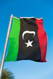 National flag of Libya on flagpole Royalty Free Stock Image