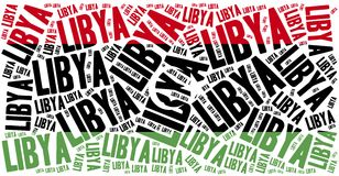 National flag of Libya. Word cloud illustration. Stock Photography