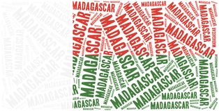 National flag of Madagascar. Word cloud illustration. Royalty Free Stock Photos