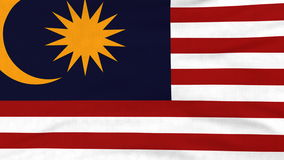 National flag of Malaysia flying on the wind stock video