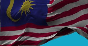 National Flag of  Malaysia waving in the wind slow motion stock video