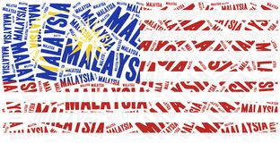 National flag of Malaysia. Word cloud illustration. Stock Photography