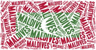 National flag of Maldives. Word cloud illustration. Stock Photos