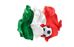 The national flag of Mexican. FIFA World Cup. Russia 2018. Flag made of fabric. Football and soccer concept. Fans concept. Soccer ball with fabric. Isolated on Royalty Free Stock Images