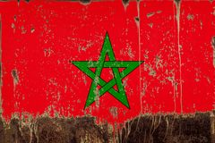 National flag of Morocco on metal texture stock photography
