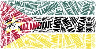 National flag of Mozambique. Word cloud illustration. Stock Images