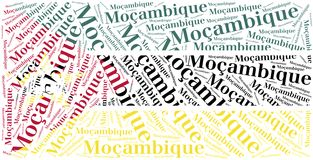 National flag of Mozambique. Word cloud illustration. Royalty Free Stock Photos