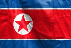 National flag of North Korea. Texture. Waving Royalty Free Stock Photos
