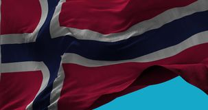 National Flag of Norway waving in the wind slow motion vector illustration