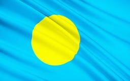 Flag of Palau, Ngerulmud - Micronesia stock photography