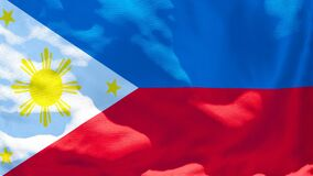 The national flag of Philippines flutters in the wind