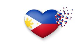 National flag of Philippines in heart illustration. With love to Philippines country. The national flag of Philippines fly out stock illustration