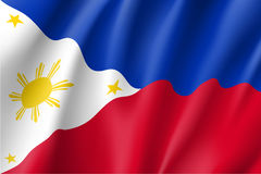 National flag of Philippines Republic. Waving flag of Republic of the Philippines. Patriotic philippine sign in official country colors and sun. Symbol of royalty free illustration