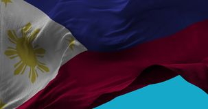 National Flag of Philippines waving in the wind slow motion vector illustration