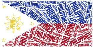 National flag of Philippines. Word cloud illustration. Stock Images