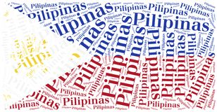 National flag of Philippines. Word cloud illustration. Royalty Free Stock Photography