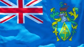 The national flag of Pitcairn islands flutters in the wind