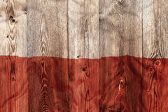 National flag of Poland, wooden background Stock Image