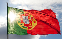 National flag of Portugal Stock Photos