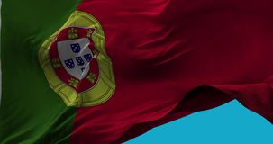 National Flag of Portugal waving in the wind slow motion stock illustration