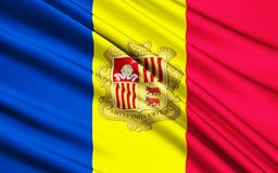 Flag of Andorra. The national flag of the Principality of Andorra - adopted in 1866 vector illustration
