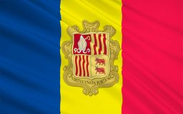 Flag of Andorra. The national flag of the Principality of Andorra - adopted in 1866 royalty free illustration