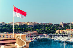 National flag of of the Principality of Monaco Stock Images