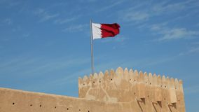 National flag of Qatar stock video