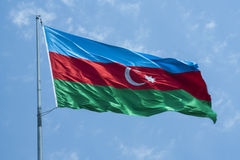 The national flag of the Republic of Azerbaijan Stock Photo