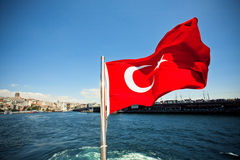 National flag of the Republic of Turkey waving Royalty Free Stock Image