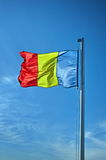 Blue background. The national flag of Romania Royalty Free Stock Photography