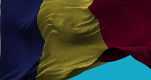 National Flag of Romania waving in the wind slow motion stock illustration