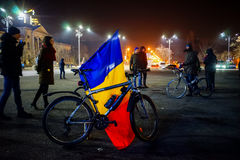 National flag at romanian protests, Bucharest, Romania Stock Photography