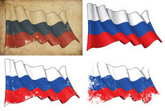 National Flag of Russia. Waving National Russian flag. 4 options for multiple uses 1) aged paper, 2) clean cut, 3) scratched surface and 4) under texture Stock Images