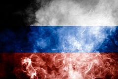 National flag of Russia. From dense colored smoke on a black isolated background Royalty Free Stock Images